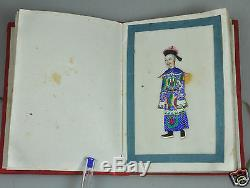 12 Antique Chinese China Qing Dynasty Watercolor Painting Pith Rice Album 1850