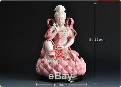 12 Chinese Dehua Colored Porcelain Lianhua Kwan-yin Guanyin Buddha Lotus Statue