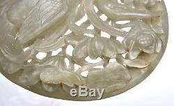 17C Chinese Celadon Jade Deep Carved Carving Plaque Duck Bird Mini Screen Wood