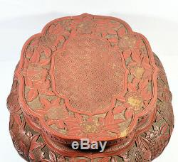 18th C. ANTIQUE LARGE CHINESE LACQUER CINNABAR TABLE STAND VASE BOWL WOOD