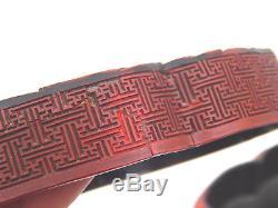 18th C. Antique Chinese Qianlong Cinnabar Scholar's Box Polychrome Qing Dynasty
