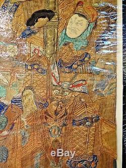 18th C. Chinese Silk Embroidered Peking Opera Theater Panels-LARGE