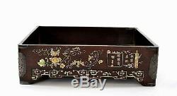 1900's Chinese Boxwood Wood Silver Mother of Pearl Inlay Tea Tray Calligraphy