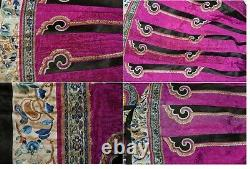 1900's Chinese Pink Fuchsia Silk Embroidery Gold Threads Lady's Skirt