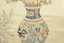 1900's Chinese Silk Embroidery Panel Textile Tapestry Vase & Planter Pattern
