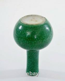 1900s Chinese Green Crackle Monochrome Ge Guan Type Chocolate Rim Porcelain Vase