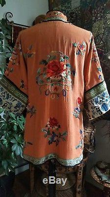 1920's Vintage Embroidered Silk Chinese Robe Antique Peach Jacket Asian Q'ing