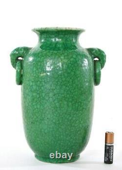 1930's Chinese Green Crackle Glaze Monochrome Ge Guan Type Vase Elephant Ears