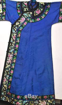 1930's Chinese Purple Indigo Silk Embroidery Brocade Lady's Long Robe Flowers