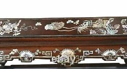 1930's Southern Chinese Vietnam Mother Pearl Inlay Hardwood Wood Carved Tea Tray