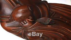 19C Chinese Boxwood Wood Carved Carving Buddha Monk Louhan Figure Figurine