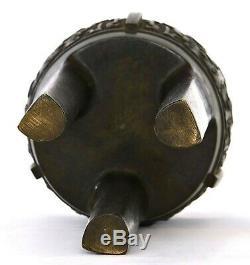 19C Chinese Bronze Censer Incense Burner Jade Jadeite & Wood Carved Lid 2330G