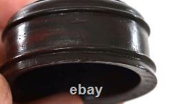 19C Chinese Cobalt Blue Glaze Monochrome Porcelain Tea Caddy Vase Wood Cover Lid