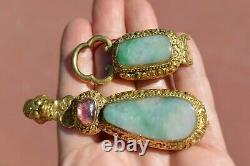 19C Chinese Gilt Bronze Dragon Jade Jadeite Tourmaline Carved Belt Hook Buckle
