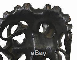 19C Chinese Hardwood Hard Wood Carved Carving Tripod Censer Incense Burner Stand