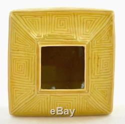 19C Chinese Incised Yellow Monochrome Porcelain Scholar Water Coupe Wood Stand