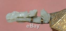 19C Chinese Jade Carved Carving Dragon Belt Hook Gilt Brass Iron & Cover