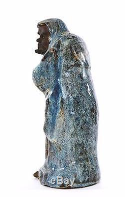 19C Chinese Jun Yao Flambe Glaze Shiwan Mudman Buddha Daruma Figurine Figure