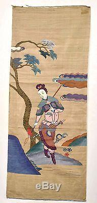 19C Chinese Kesi Kossu Silk Embroidery Panel Textile Tapestry Lady Warrior 95CM