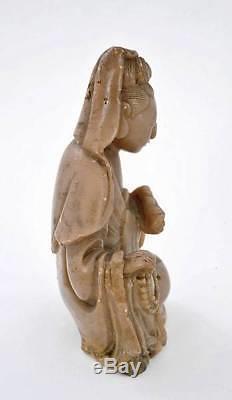 19C Chinese Soapstone Carved Carving Quan Kwan Yin Buddha Figure Figurine