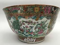 19th C. Large Chinese Porcelain CANTON Famille Rose PUNCH OVAL Bowl
