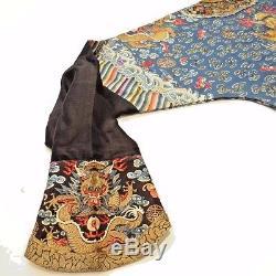 19th C. Qing Ching Dyn. Chinese Silk Embroidered 5-Claw Ch'i-fu Dragon Robe