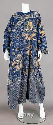 19th Century ANTIQUE CHINESE CHINA EMBROIDERY SUMMER SILK ROBE BLUE DRAGON