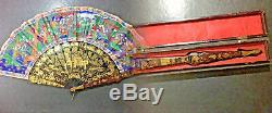 19th Century China Chinese Canton Hundred Faces Lacquer Fan & Box