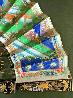 19th Century China Chinese Canton Hundred Faces Lacquer Paper Fan With Box