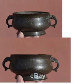 19th Century Chinese Bronze Silver Inlay Shisou Censer Incense Burner Marked