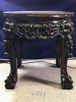 19th Century Chinese Jardiniere Stand With Marble Top