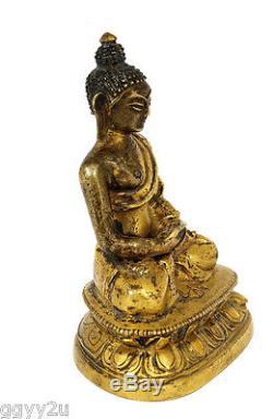 19th Century Chinese Sino Tibetan Tibet Gilt Bronze Seated Buddha