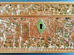 19th Century Rare China Chinese Large Canton Hand Carved Sandalwood Box