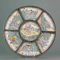 19th Chinese Cantonese Enamel Sweet Meat Altar Dish Ceremonial Figures