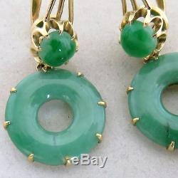 1.35 Pair of Chinese 19K Yellow Gold & Green JADEITE Jade Earrings (8.9 grams)