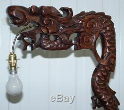 1 Of 2 Chinese Dragon 1920's Hand Carved Wood Floor Standing Lamps Part Of Set