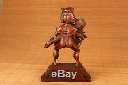 20th Rare Chinese Old Boxwood Hand Carved tibet Evil Buddha Big Statue Figure