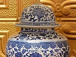 28/29 Pair Of Blue & White Jingdezhen Chinese Porcelain Temple Jar Vase Lamps