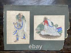 2 x fine 19th Century Chinese Silk Paintings of Luohans- Buddha, Tibetan, Qing