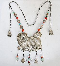 36 Antique Chinese Silver Necklace with 5.65 Foo Dog, Coral & Turquoise (15oz)