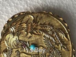 50g Old Chinese 16k Gold Carved Coral Dragon Bird Paradise Figural Disc Pendant