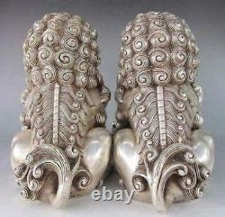 6 A Pair Chinese Silver Bronze Fu Foo Dog Guardian lion Statue