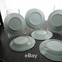 6 c1850 Canton Antique Chinese Blue and white Export Porcelain Desert Plates