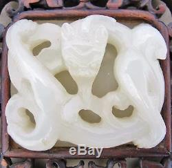 7.8 Antique Chinese Wood Table Screen with 2 Carved White Jade Chilong Dragon