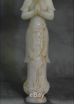 8.4 Antique Chinese Buddhism Natural White Jade Carved Kwan-Yin Guan Yin Statue