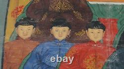 ANTIQUE 19c CHINESE GOUACHE ON FABRIC ANCESTOR PAINTING OF A SEATED MEN & WOMEN