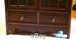 ANTIQUE 19c CHINESE WALNUT WOOD CARVED CURIO CABINET WithWOOD SHELVES, GLASS DOOR