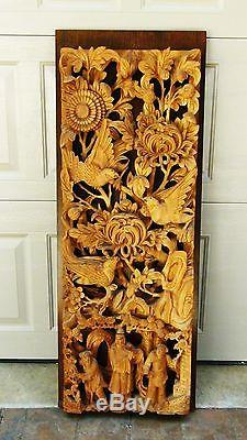 ANTIQUE 19c CHINESE WOOD SOLID PIERCED HAND CARVED PANEL, SUNBIRDS, PEOPLE 41H