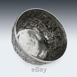 ANTIQUE 19thC CHINESE EXPORT SOLID SILVER BOWL, WANG HING c. 1880