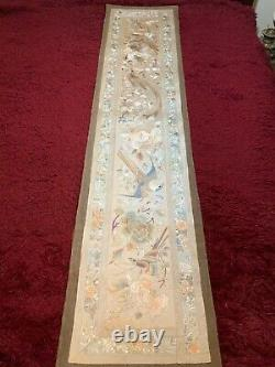 ANTIQUE CHINESE 19th/ 20th EMBROIDERED SILK PANEL BIRDS EMBROIDERY 181 cm x 41cm